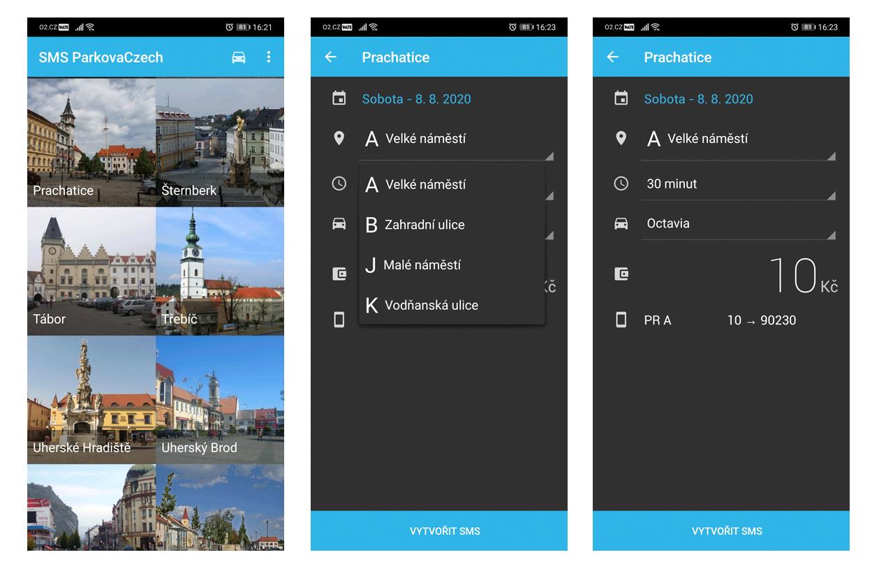 Aplikace pro platbu parkovného